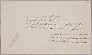 Albuminscriptie van A. Drost, voor Johanna Messchert