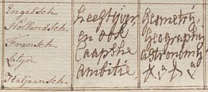 Detail Conduitelijst 1775 talen, ambitie en wetenschappen van Robert Jacob Gordon