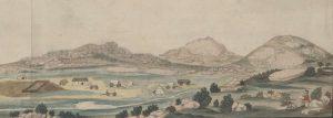 'gesigt van een veeplaats in het kleine namacquas land', Gordon figureert zelf als tekenaar op zijn reis.
