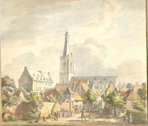 Gezicht op Doeburg met Grote Kerk, Arsenaal en voormalige kloostertuin