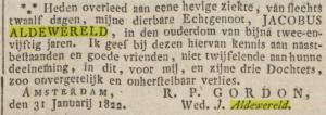 overlijdensbericht Jacobus Alderwereld geplaatst in de Opregte Haarlemsche Courant door Rebecca Petronella Gordon