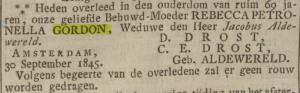 Overlijdensbericht Rebecca Petronella Gordon door Catharina Elisabeth Aldewereld en Dionysius Drost, Opregte Haarlemsche Courant.