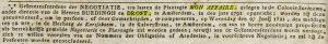 Buedingh en Drost koffieplantage Mon Affaire - Leydse courant 22juni1821 - via Delpher