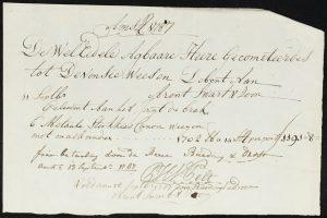 Levering van een kanon, voldaan door de firma Buedingh & Drost, 13 september 1787.