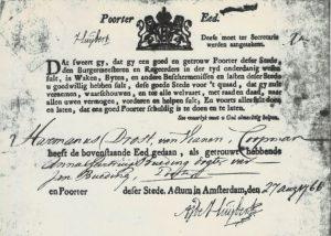 'Poorter eed' Hermanus Drost 27 augustus 1766
